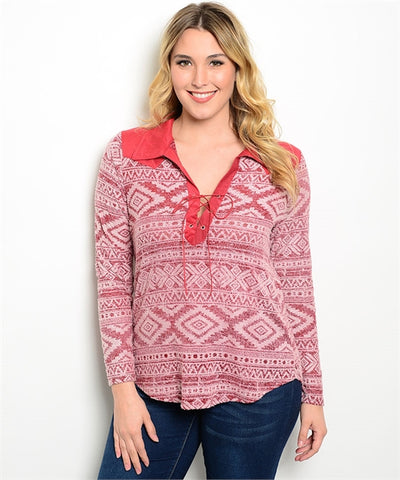 Plus Size Burgundy V Neck Lace Up Tribal Top