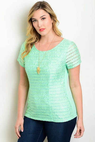 Green Plus Size Top with Back Cut Outs