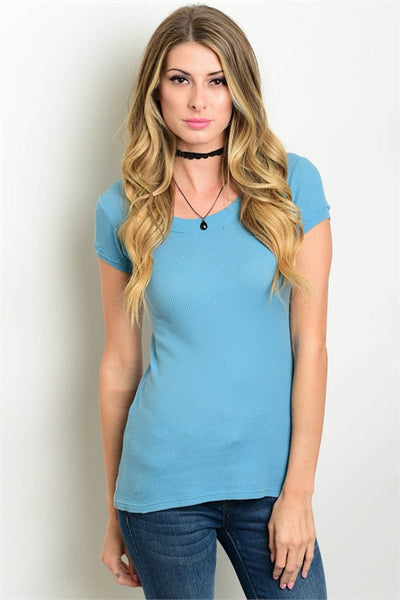 Blue Short Sleeve Fitted Top