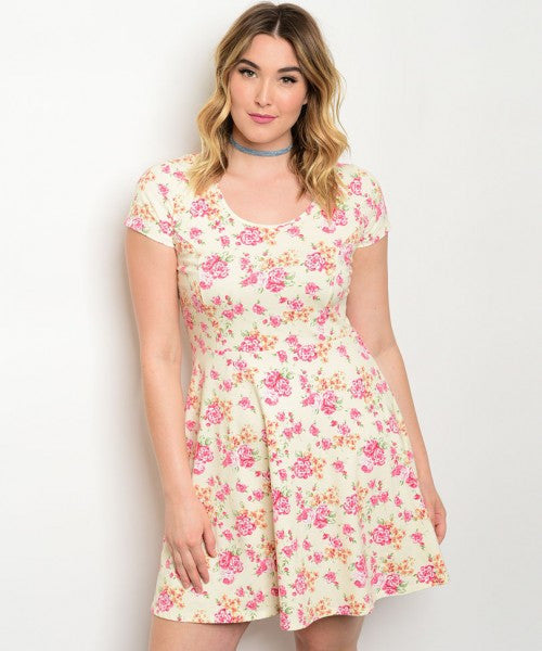Plus Size Floral Dress with Cap Sleeves and Fitted Waist