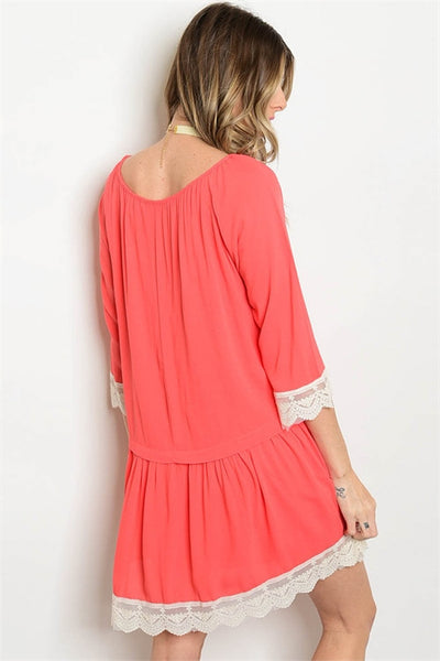 Coral Dress with Lace Detail & Scoop Neck with Tassel