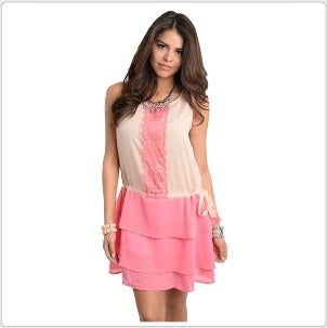 Peach and Pink Sleeveless Chiffon Lace Dress