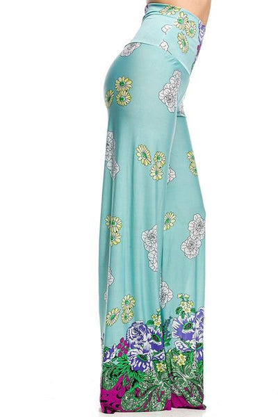 Light Blue Floral Palazzo Pants