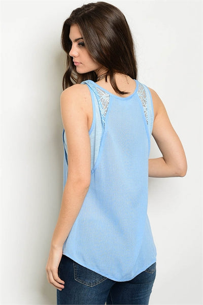 Light Blue Sleeveless Top with Lace