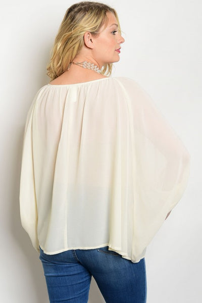 Cream Chiffon Plus Top