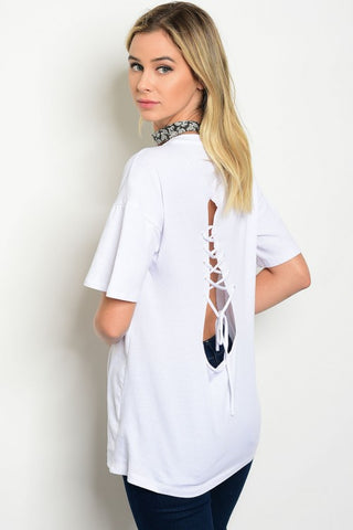 Back Lace Up Rock N Roll Graphic Tee White