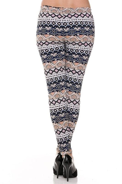 Leggings Fleece Tribal Pink Accent