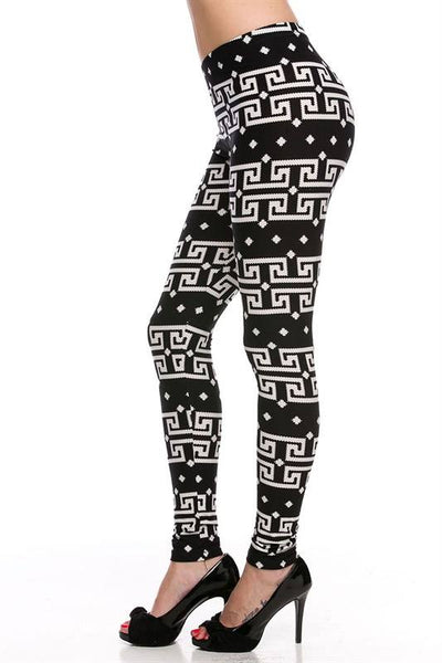 Black and White Geo Tribal Print Ankle Leggings
