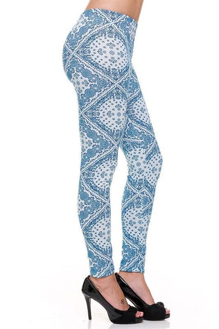 Blue Bohemian Print Ankle Leggings
