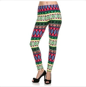 Colorful Flower Tribal Print Ankle Leggings