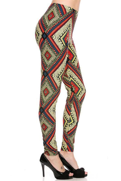 Diamond Tribal Print Ankle Leggings