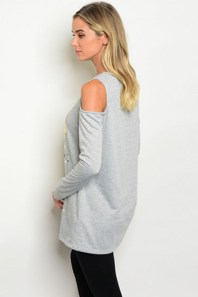 Gray Long Sleeve Cold Shoulder Crew Neck Top