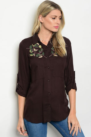 Brown Button Down 3/4 Sleeve Blouse