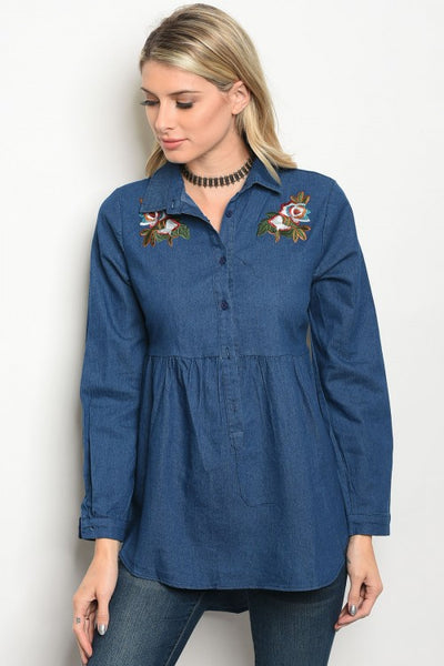 Long Sleeve Denim Baby Doll Floral Blouse
