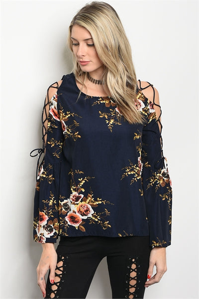Black Floral Print Lace Up Sleeve Blouse