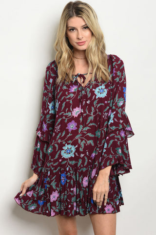 Burgundy Floral Tunic Dress