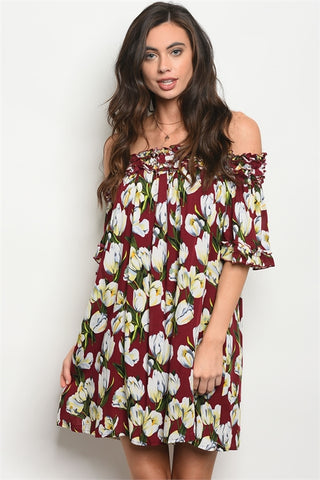 Floral Burgundy Tunic Dress with Off Shoulder Detail