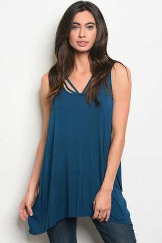 Teal Sleeveless V-neck Tunic Top
