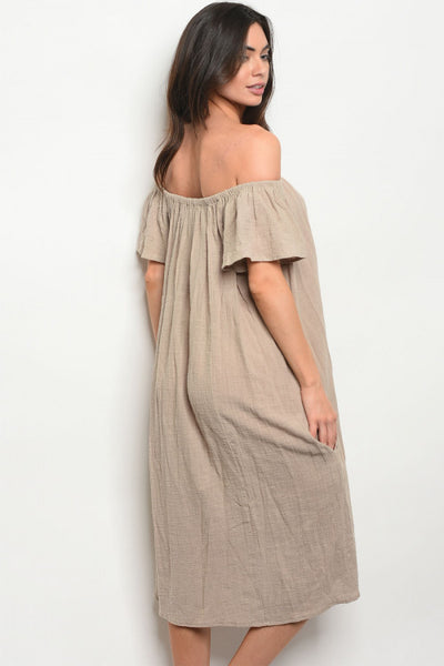 Taupe Dress worn Off the Shoulder or On the Shoulder