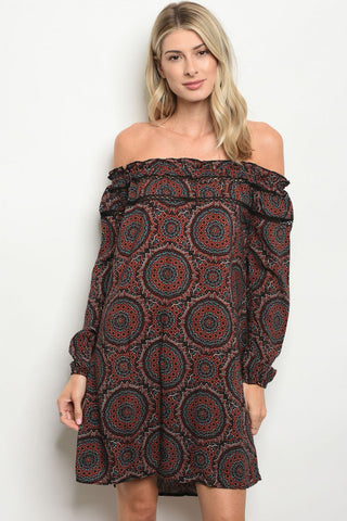 Bohemian Print Black Brick Tunic Dress