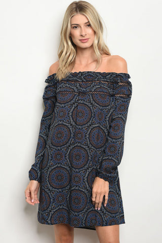Bohemian Print Navy Blue Tunic Dress