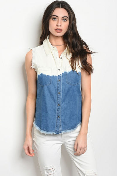 Sleeveless Denim Ombre Top