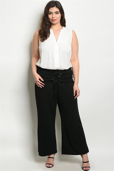 Black Plus Pants with Corset Waist Band