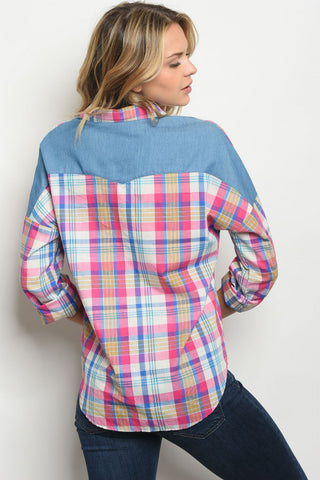 Fuchsia and Blue Plaid Chambray Top