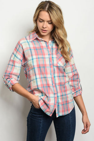 Peach and Blue Plaid Chambray Top