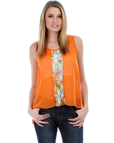Apparel Top Sleeveless Chiffon Orange with Floral Lace