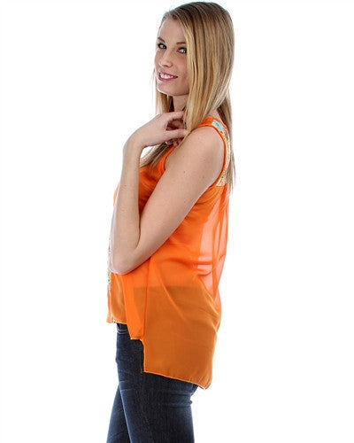 Sleeveless Chiffon Orange with Floral Lace Hi Low Blouse