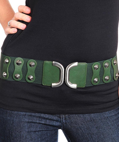 Belt, Stretchy GREEN FASHION HUNTER GREEN STRETCH WITH STUDS BELT