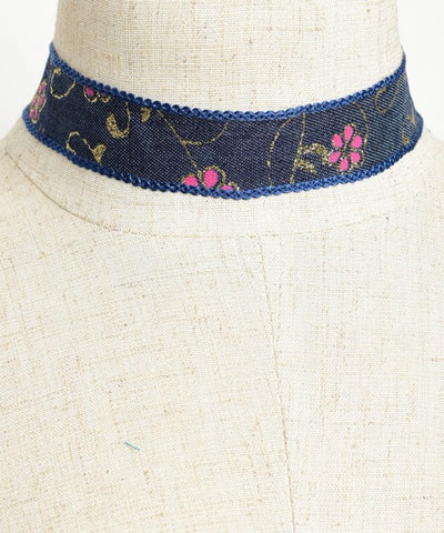 Flower Power Denim Choker