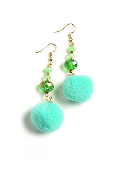 Pom Pom Stone Drop Earrings