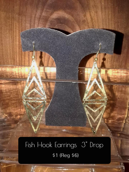 "Fish Hook Enclosure Triangle Dangle 3"" Drop Gold Tone or Copper Tone"