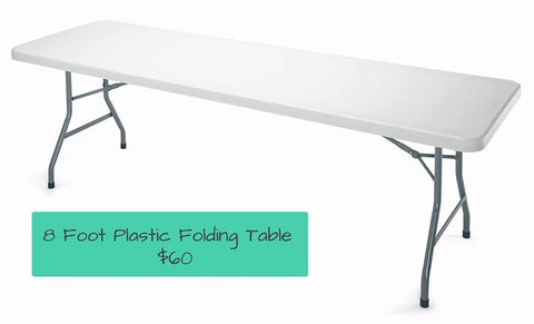 8' Plastic Table, Gently Used