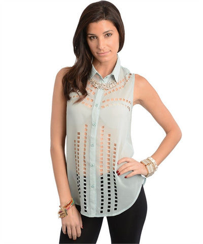 Apparel Top Sleeveless Cutout Detail Mint