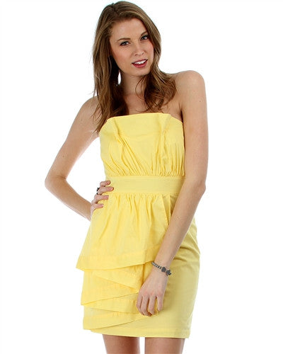 Dress Strapless Yellow Side Ruffle