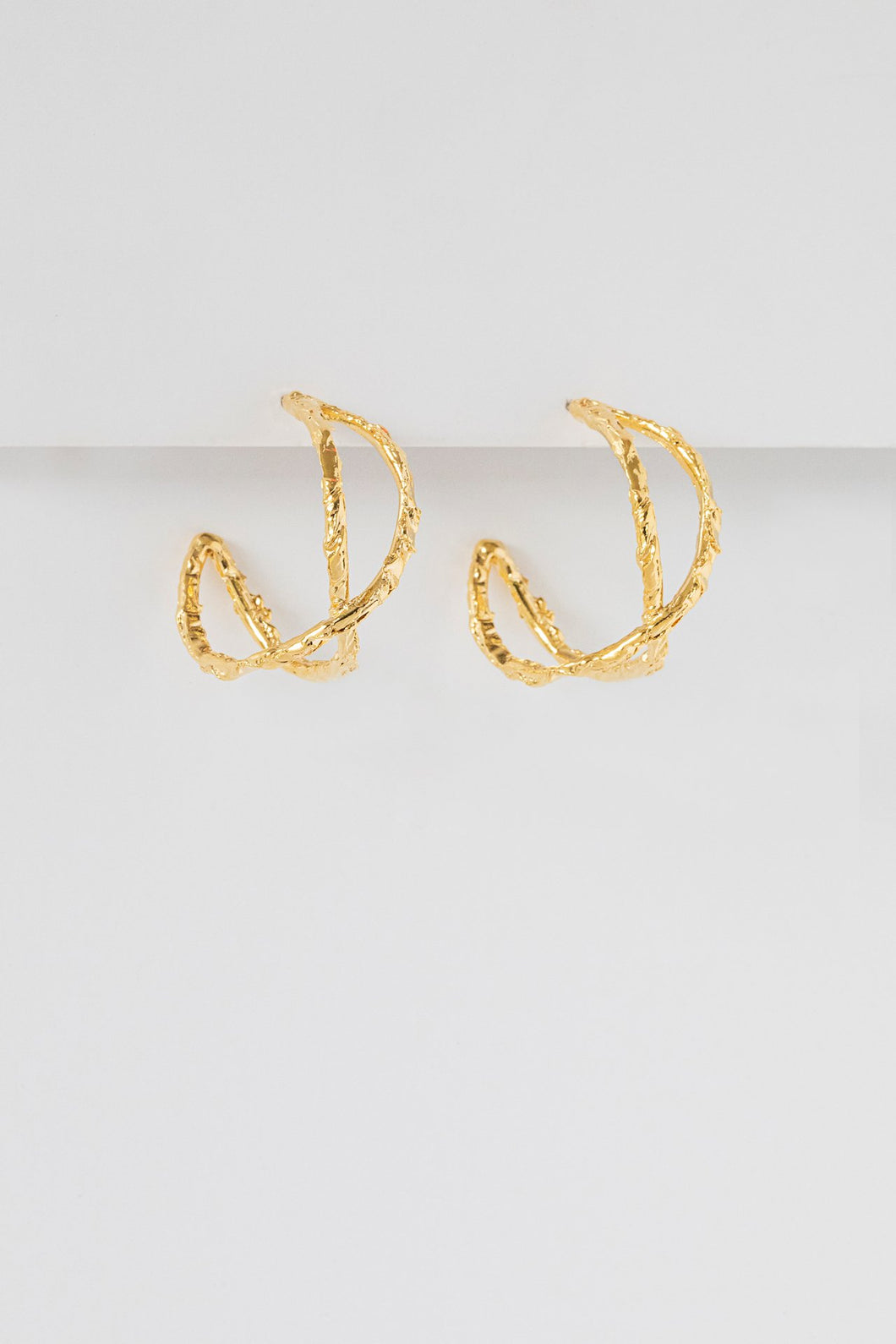 Cross Over Hoop Earrings