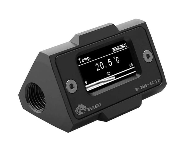 Bykski Inline Aluminum HD LCD Thermometer - Black (B-TME-SC-V2)-Fittings - Bykski