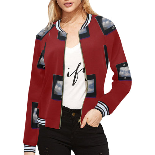 SERIPPY All Over Print Bomber Jacket for Women (Model H21) - serippymall