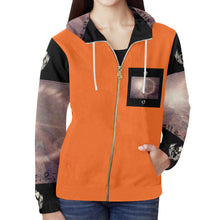Load image into Gallery viewer, SERIPPY All Over Print Full Zip Hoodie for Women (Model H14) - serippymall