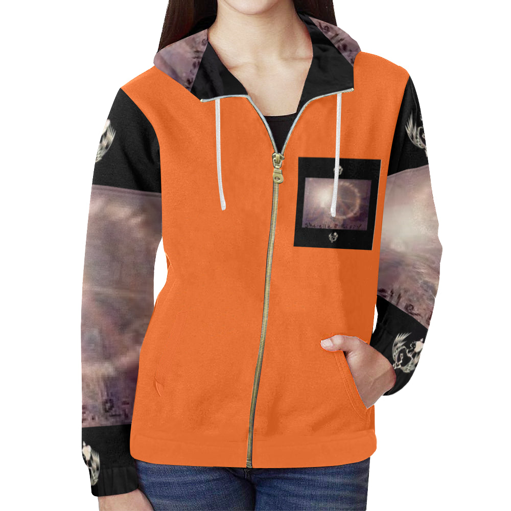 SERIPPY All Over Print Full Zip Hoodie for Women (Model H14) - serippymall
