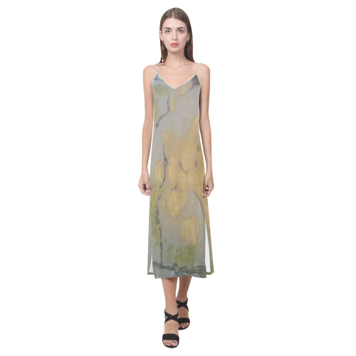 SERIPPY V-Neck Open Fork Long Dress(Model D18) - serippymall