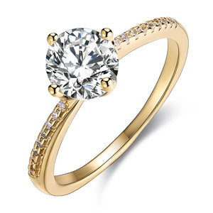 Swarovski Elements Simple Solitaire Ring in 18K Gold - serippymall