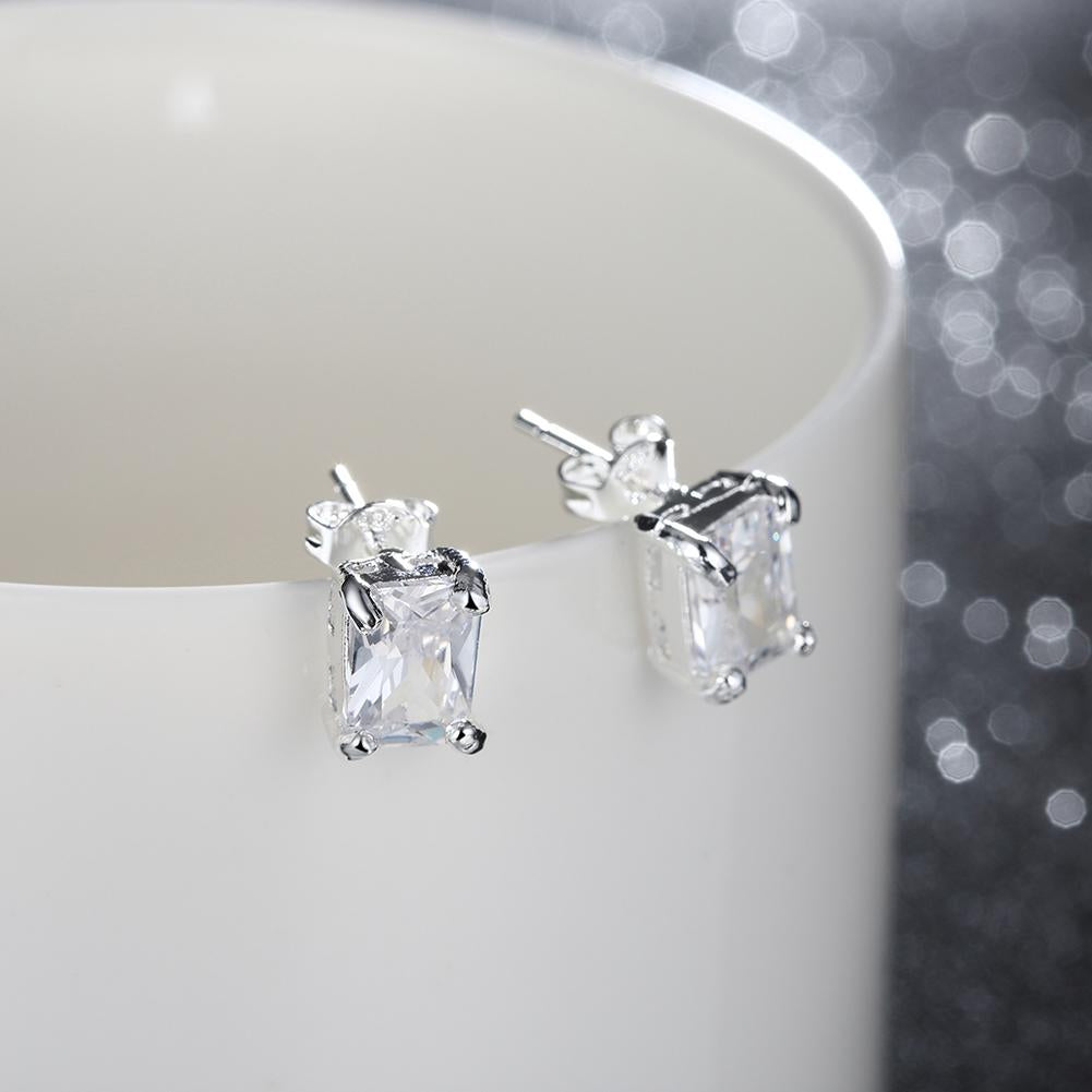 White Topaz Square Stud Earring in 14K White Gold Plated 6mm - serippymall