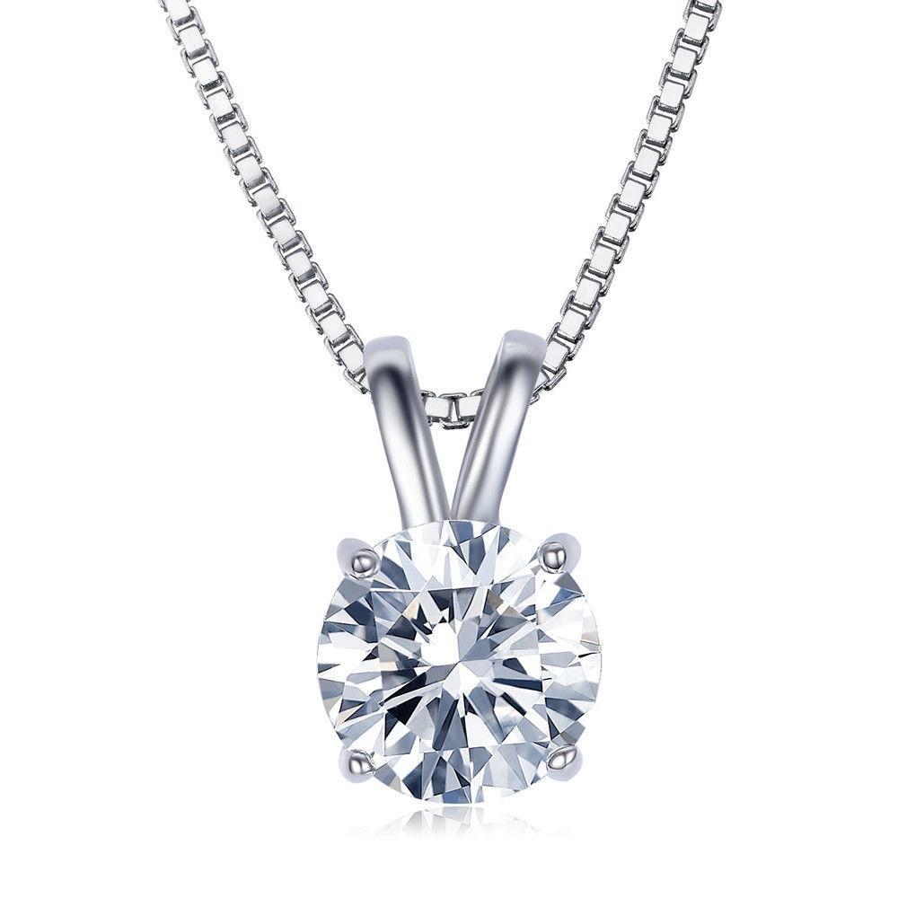 Solitaire Swarovski Elements Classical Princess Cut Necklace in 18K White Gold Plating - serippymall