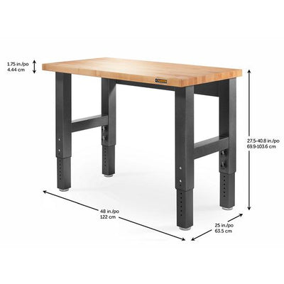 2 of 4 images - 4' (121.9 cm) Wide Adjustable Height Hardwood Workbench (thumbnails)
