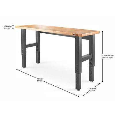 2 of 5 images - 6' (182.9 cm) Wide Adjustable Height Hardwood Workbench (thumbnails)