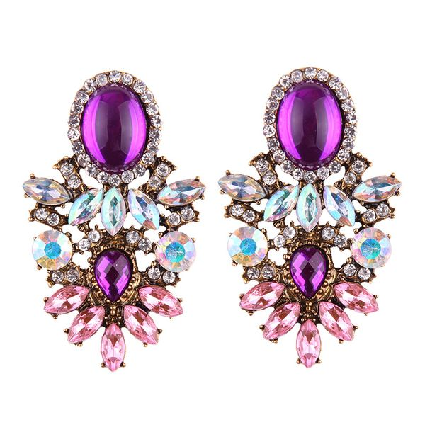 Purple Reign Faux Gem Earrings